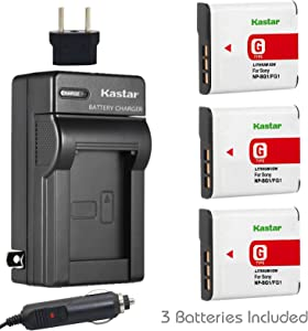 Kastar Battery (3-Pack) and Charger Kit for Sony NP-BG1, NP-FG1, BC-CSG and Sony Cyber-Shot DSC-H50, Cyber-Shot DSC-H10, Cyber-Shot DSC-W120, Cyber-Shot DSC-W170, Cyber-Shot DSC-W300 Digital Cameras
