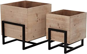 Benjara 15 Inch Square Shaped Wooden Planter with Metal Frame Base, Set of 2, Brown