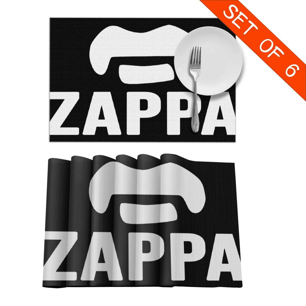 PhilipPVergara Frank Zappa Placemats Heat-Resistant Placemats Stain Resistant Anti-Skid Washable Table Mats Set of 6 Wipe Clean
