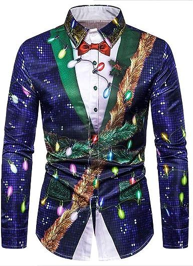 Hombre Camisas Navidad, Manga Larga Casual Navidad 3D Impresión Otoño e Invierno Nuevo Camisa de Moda Slim Fit Long Sleeve Blusa Tops Camiseta Botón Shirt Diseño de Personalidad vpass: Amazon.es: Ropa y