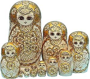 Moonmo 10pcs Handmade Wooden Gold Plum Russian Nesting Dolls Matryoshka Wooden Toys