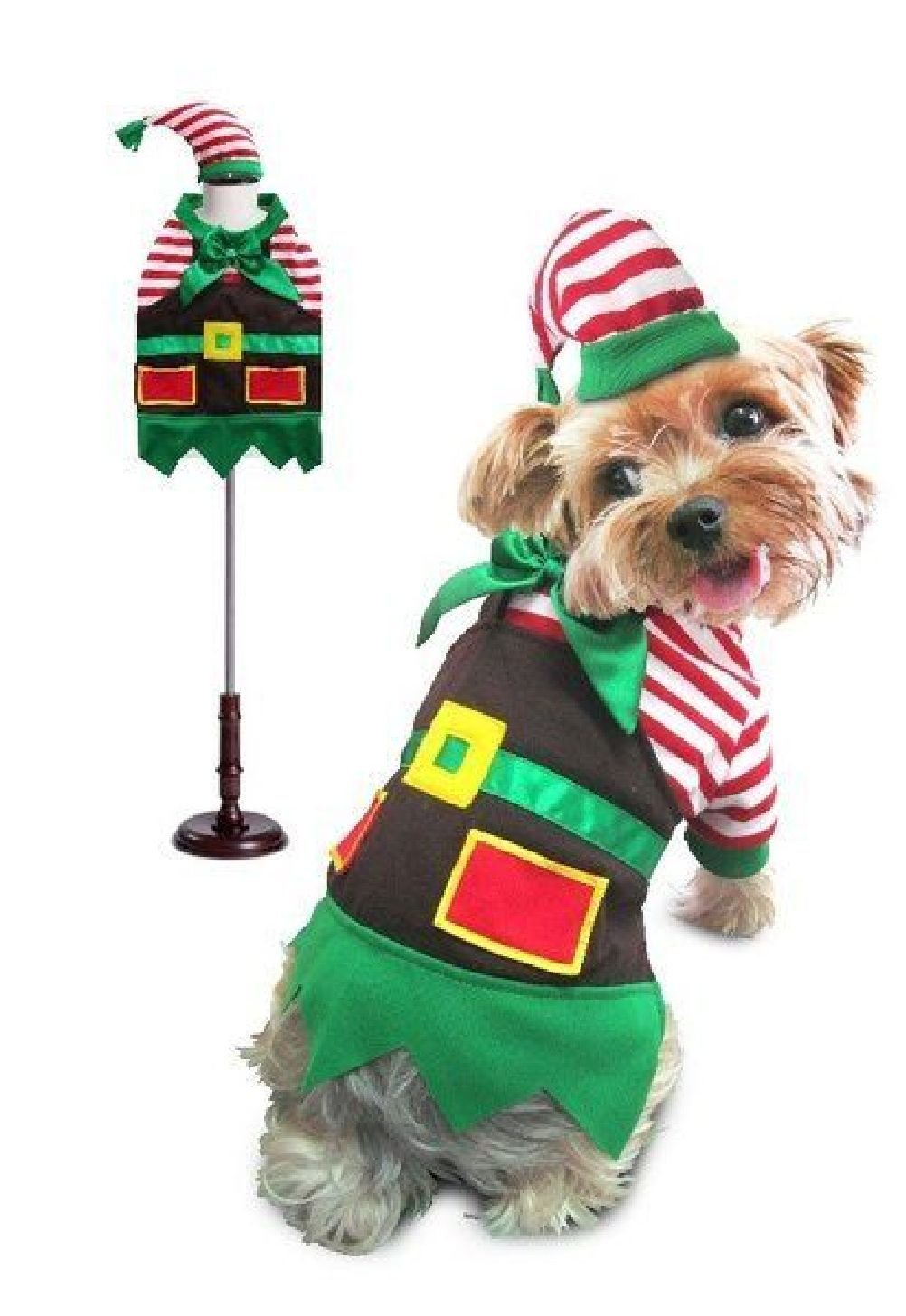 Santa'S Elf Christmas Holiday Theme Dog Costume Stripe Shirt Apron Matching Hat