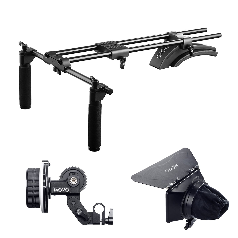 Movo sg500デュアルグリップ軽量マットボックスと精度でビデオショルダーサポートリグフォローフォーカスシステムfor DSLR Cameras and Camcorders   B075RG2SSB