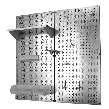 Wall Control Metal Pegboard Organizer Utility Tool Storage and Garage Pegboard Organizer Kit with Metallic Pegboard and White Accessories