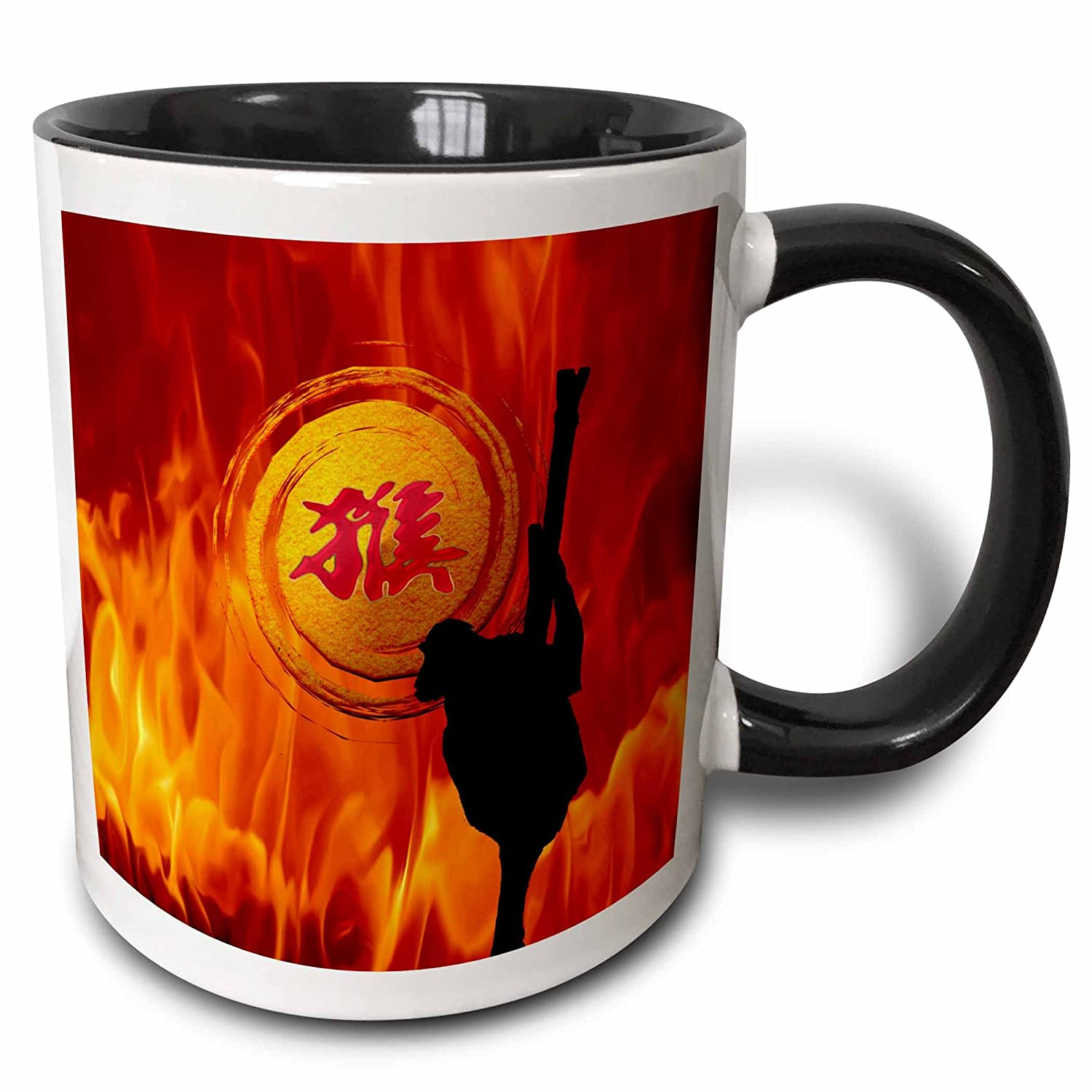 Buy 3drose Monkey On Tree Branch Sign Of The Monkey Fire Background Mug Black 11 Oz Online At Low Prices In India Amazon In