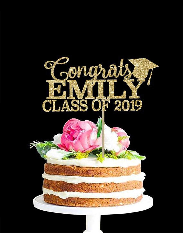 any color glitter 2019 Custom Congrats Graduation Cake Topper