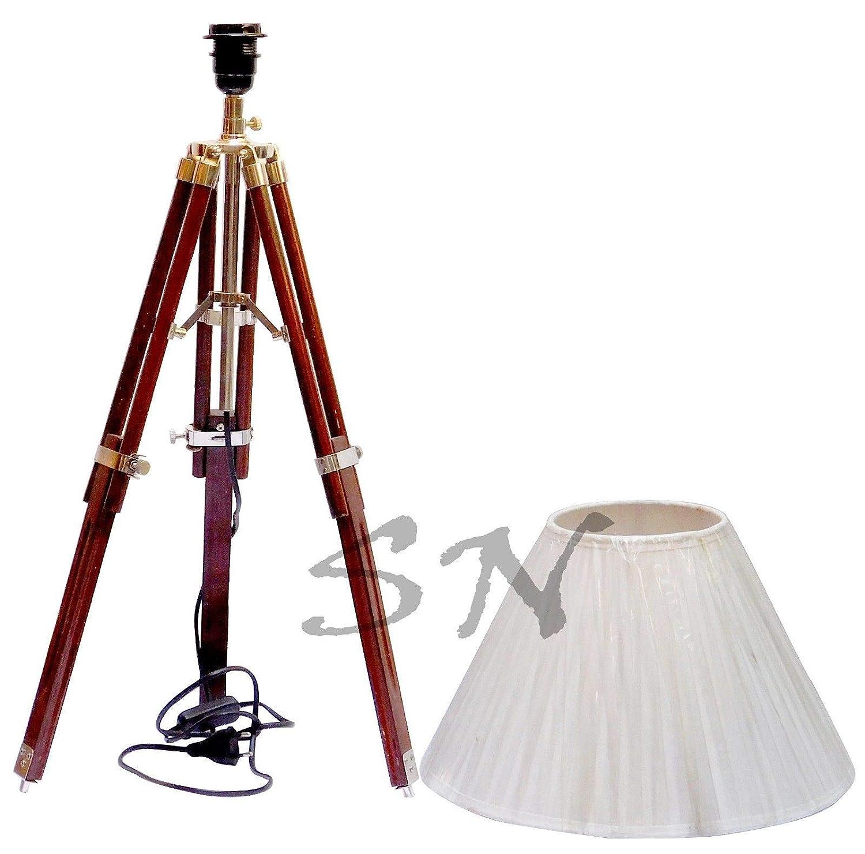 Amazon.com: Sara - Lámpara de pie con trípode de madera para ...