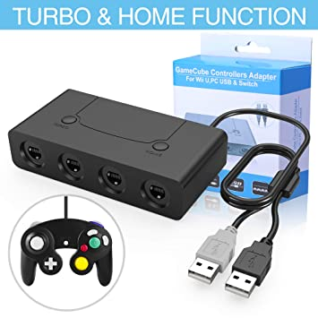 HEYSTOP Gamecube Controller Adapter, Wii U Gamecube NGC Controller Adapter Switch con Turbo y Botones de Inicio para Nintendo Switch, Wii U y PC USB, ...