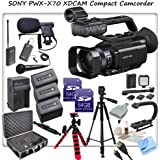 Sony PXW-X70 Professional XDCAM Compact Camcorder w/ CS Interview/Documentary Kit: Includes 3 Long Life Sony NP-FV100 Replacement Batteries, Rapid Travel Charger With Car Adapter & Euro Plugs, Stabilizing Handle/Grip, Wireless Lapel & Handheld Mic System, Boom Microphone, LED Video Light With 2 Lithium Batteries & Bracket, Full Size Tripod With Carrying Case, Gripster Tripod, HDMI Micro Cable, Shockproof Carrying Case, 2x 64GB SDXC Memory Cards, SD Card Reader, Brush Blower, Cleaning Kit, Lens Pen & CS Microfiber Cleaning Cloth