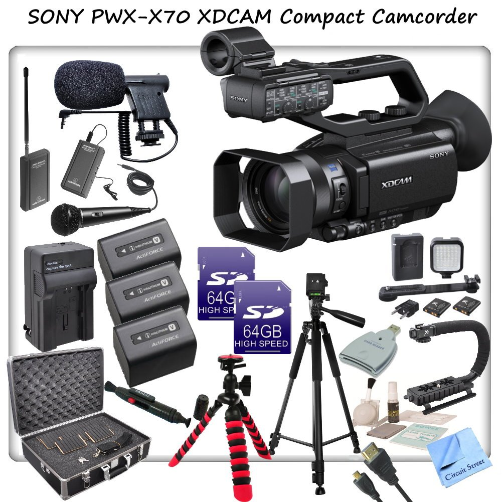 Sony PXW-X70 Professional XDCAM Compact Camcorder w/ CS Interview/Documentary Kit: Includes 3 Long Life Sony NP-FV100 Replacement Batteries, Rapid Travel Charger With Car Adapter & Euro Plugs, Stabilizing Handle/Grip, Wireless Lapel & Handheld Mic System, by Sony