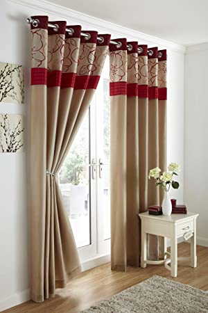 Red Curtains amazon red curtains : BROWN / RED EMBROIDERED LINED CURTAINS WITH EYELET RING TOP 90 x ...