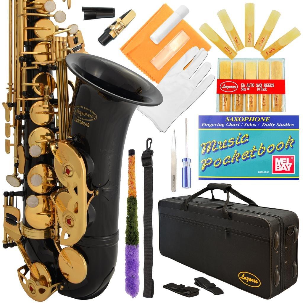 Saxofón alto Eb mi bemol Lazarro funda y kit mantenimiento