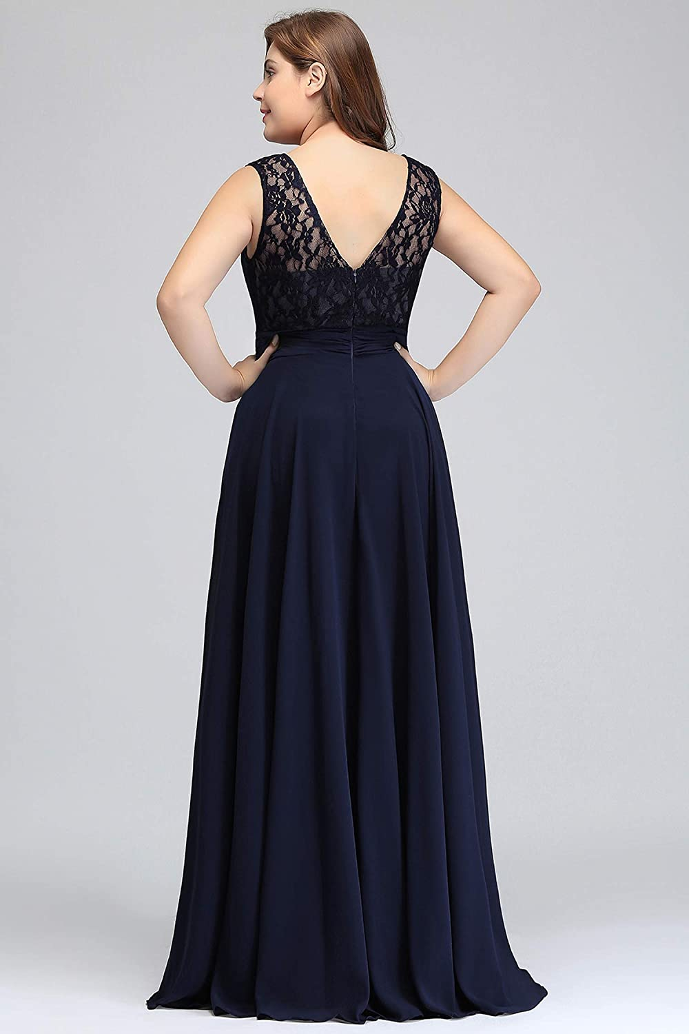 Evening Dress Sleeveless Lace Chiffon Evening Dresses Long Party Dresses Formal Gown,Burgundy,12