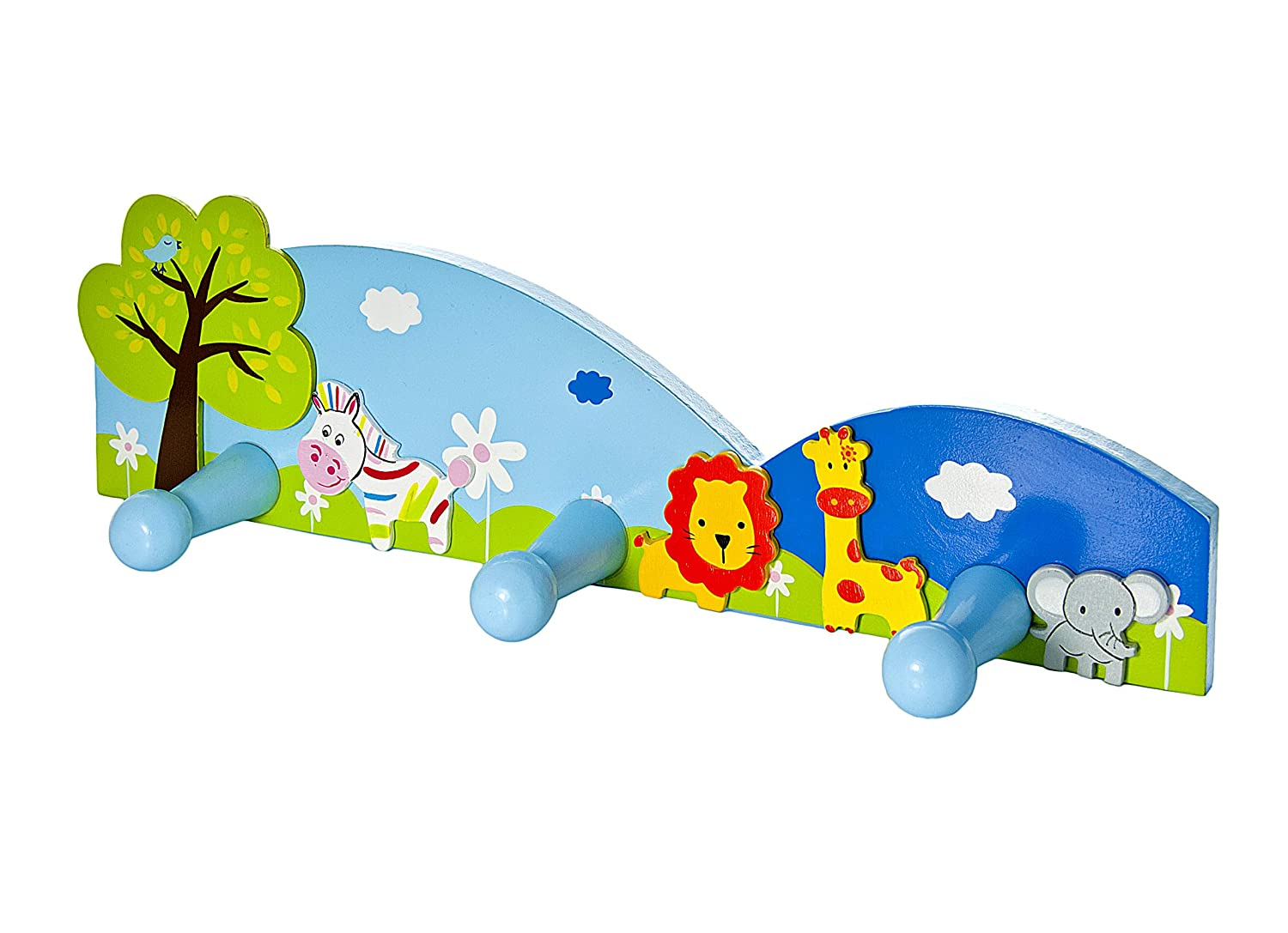 Amazon.com: Kids Safari Animal Themed Escudo Ganchos Pared ...