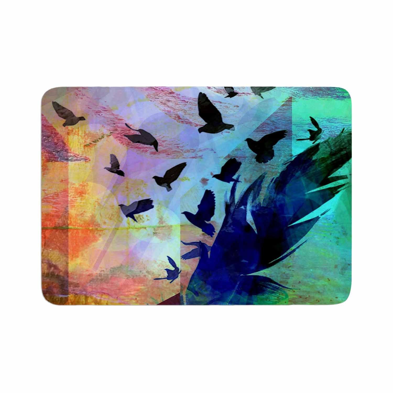 Kess InHouse AlyZen Moonshadow NOT Quite Birds of A Feather Green Multicolor Memory Foam/Bath Mat 24 by 36