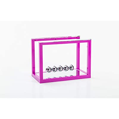 Asian Home Newtons Cradle Balance Balls, 5 Pendulum Balls, with Mirror Desk Top Decoration Kinetic Motion Toy for Home and Office, Physics Toys for Teachers (Purple): Toys & Games
