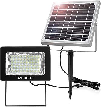 Foco Solar Exterior MEIKEE 60 LED Foco Solar 300LM, Lámpara Solar para Jardín, lluminacion Exterior IP66 Impermeable, Panel Solar con Batería 4000mAh, Para Jardín, Garaje, Patio - Blanco Frío (6000K): Amazon.es: Bricolaje