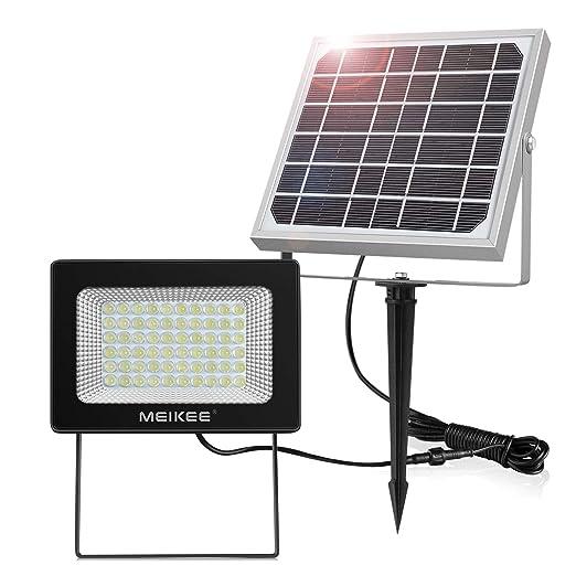 Luz Solar Led para Exterior, MEIKEE Foco Solar Jardín 300LM, Iluminación Blanca Fría, Lámpara Solar 60 LED de Súper Brillantes, Proyector Led Exterior ...