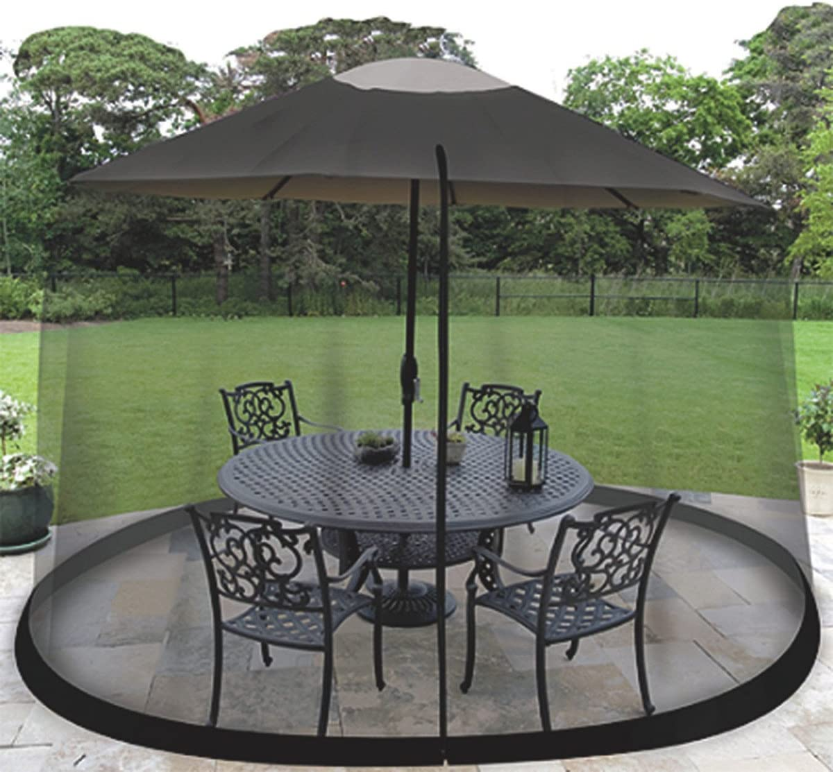 Homeroots 9 Patio Umbrella Outdoor Table Bug Screen Mesh Black Mosquito Net Canopy Curtains Adjustable Enclosure Large Umbrella Hanging Tent 100 Polyester Light Weight Mosquito Netting Garden Outdoor