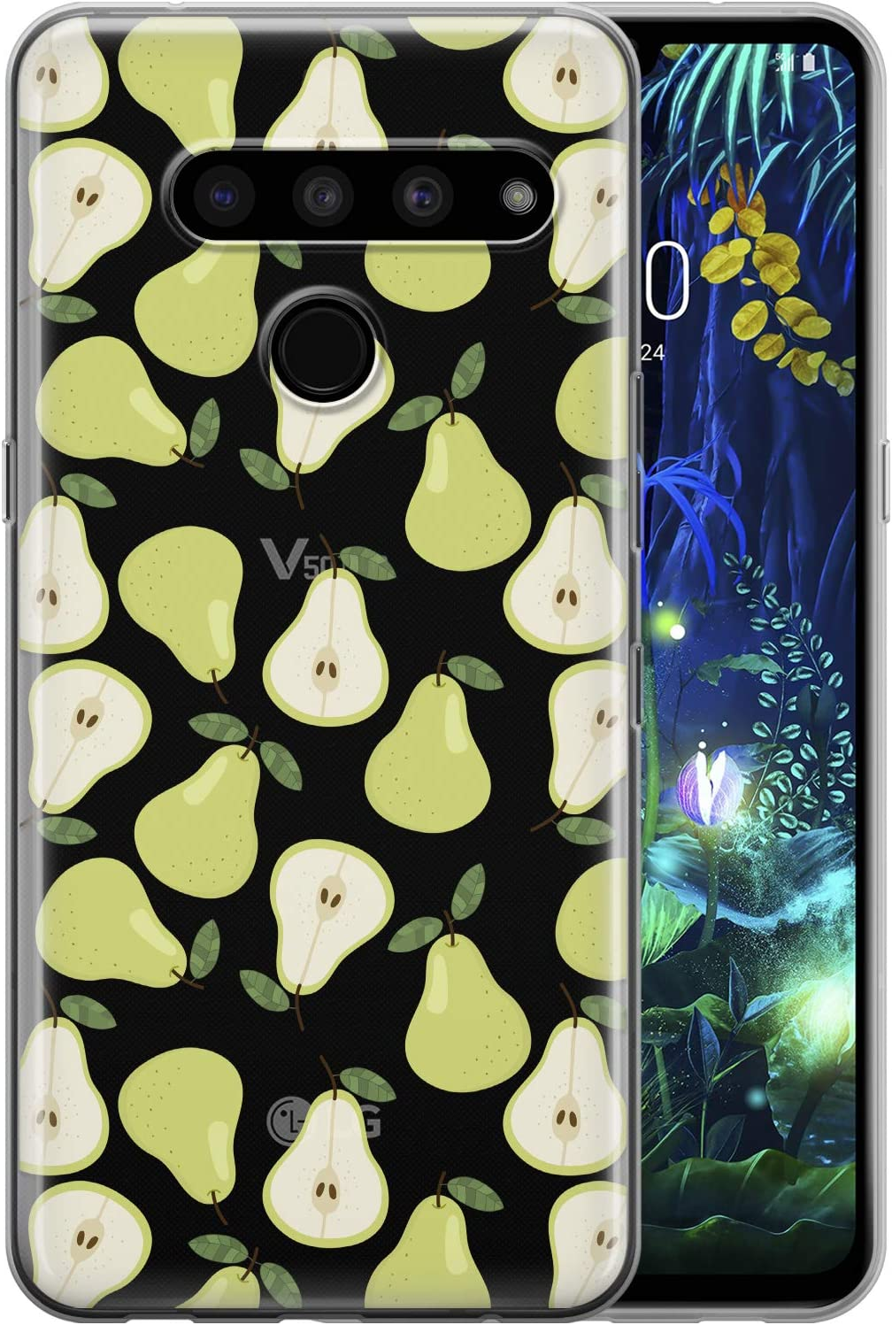Toik Case Compatible with LG Velvet G8 ThinQ G8S G7 G6 V60 5G V50 V40 V35 V30S Slim Protective TPU Food Silicone Green Pattern Fruits Pear Cute Clear Simple Cover Flexible Lightweight phpat183