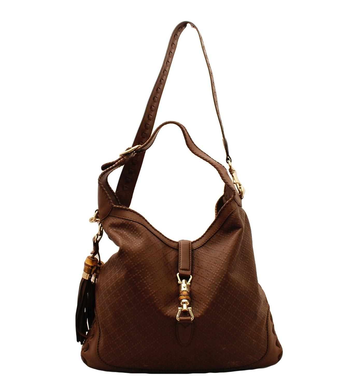 55c8338d863312 Gucci New Jackie Large Leather Hobo Shoulder Bag 218491, Diamante Logo  Brown: Amazon.ca: Shoes & Handbags