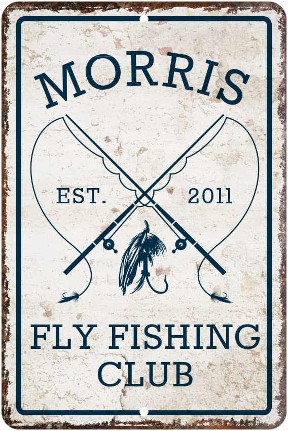 Pattern Pop Personalized Vintage Distressed Look Fly Fishing Club Metal Room Sign