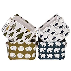 Sea Team Collapsible Square Mini Size Canvas Fabric Storage Bins Shelf Baskets Organizers for Nursery Kids Room, Set of 4 (Mix)