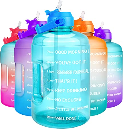 QuiFit 1 Gallon Water Bottle - with Straw & Motivational Time Marker Leak-Proof BPA Free Reusable Gym Sports Outdoor Large(128OZ/73OZ) Capacity Water Jug