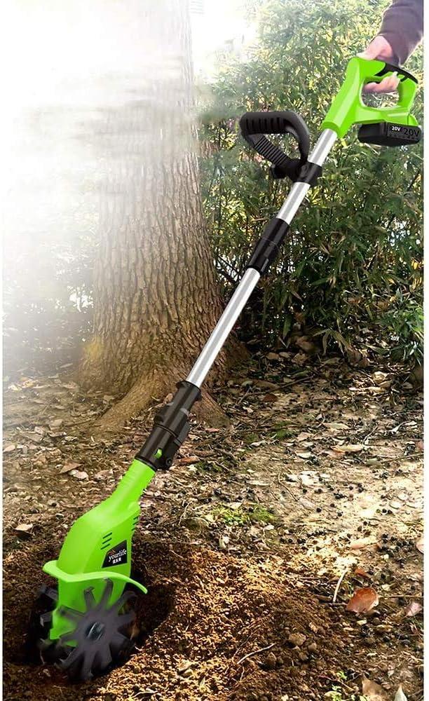 ZQCZ 20V Ligero eléctrico Handheld sin Cuerda con Pilas del Suelo Frente Tine Herramienta de jardinería Cultivador de la máquina de Cultivo con Cargador Recargable