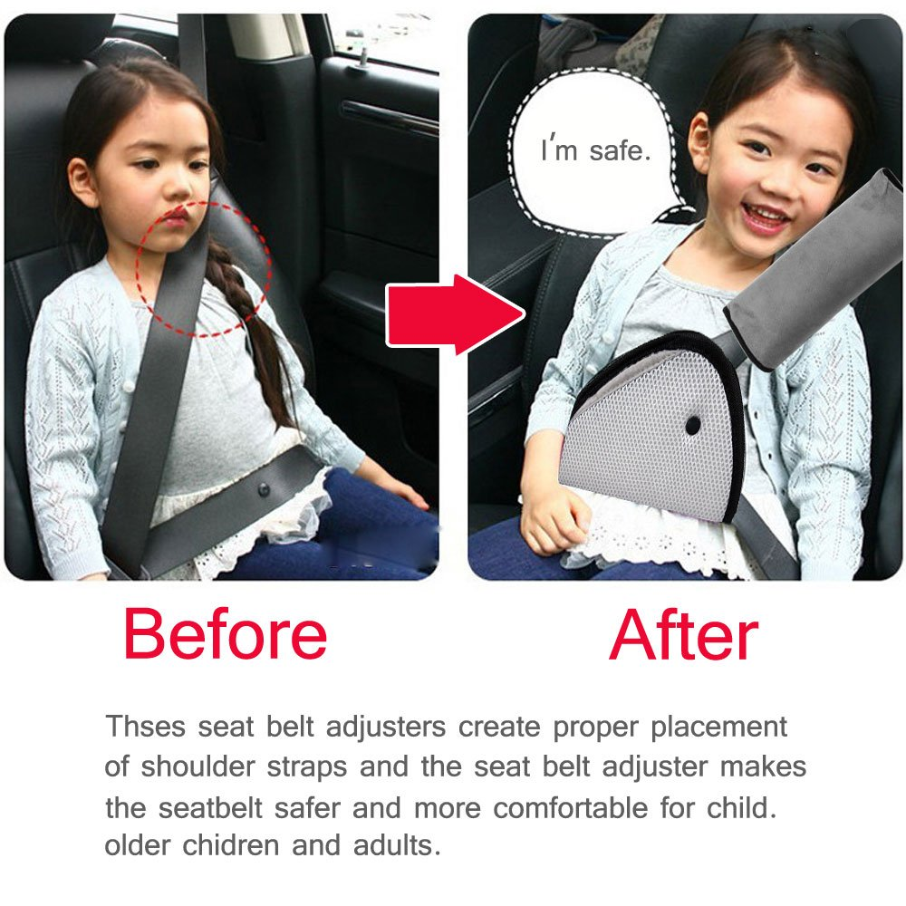 MTURE Seatbelt Cushion Safety Child Car Strap Soft Shoulder Pad Cover Head Neck Support Plus Free Clip Gray Amazoncouk