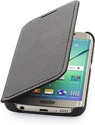 StilGut Housse pour Samsung Galaxy S6 Edge en Cuir véritable à Ouverture latérale, Noir