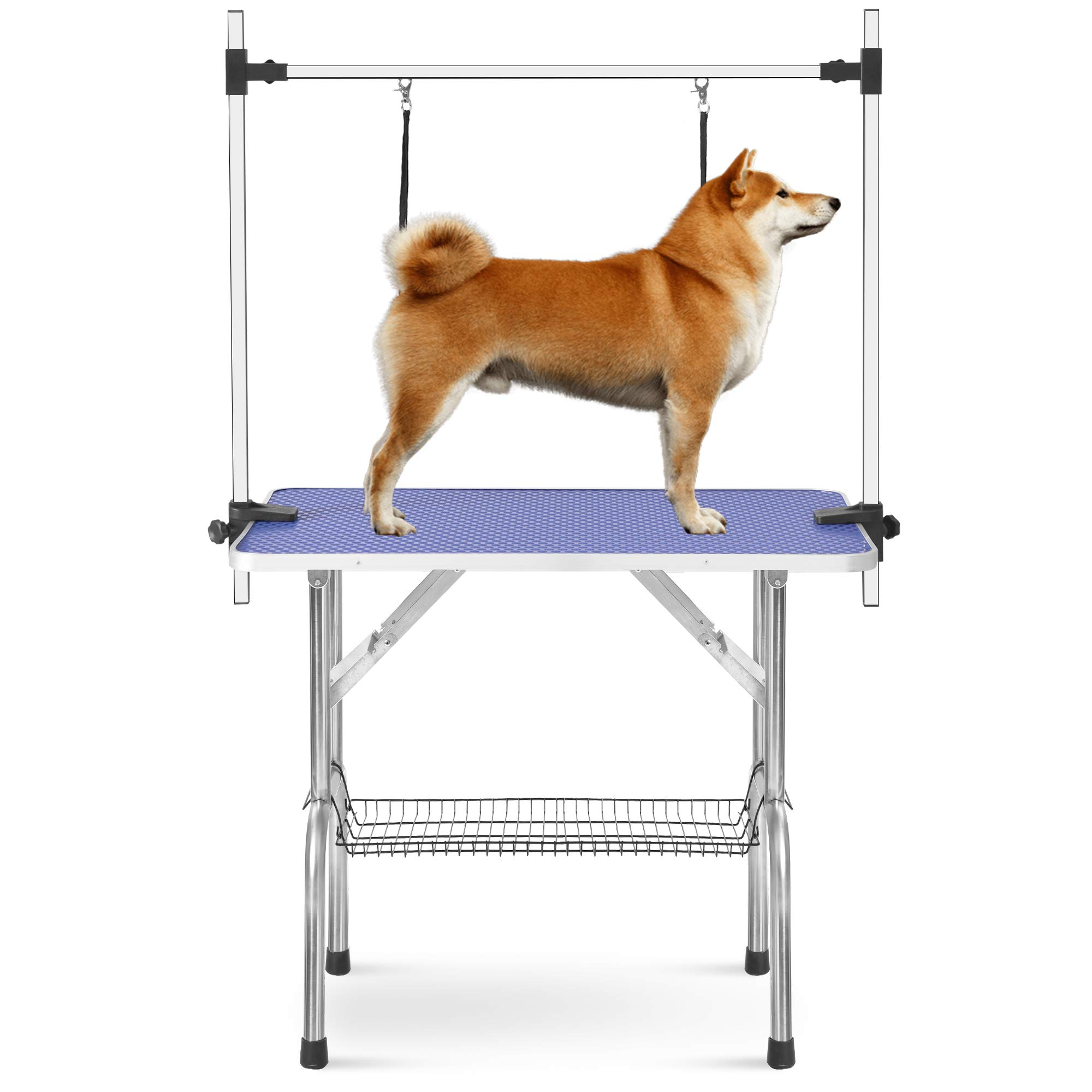 Rhomtree Professional 36'' Adjustable Pet Grooming Table Heavy Duty with Arm & Nosse & Mesh Tray for Large Dog Cat Shower Table Bath Station, Maximum Capacity Up to 330 LBS (36 inch)