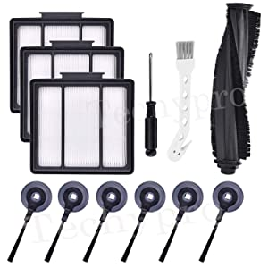 Techypro 12Pack Replacement Filter and Brush Kit for Shark ION Robot RV700_N RV720_N RV750_N RV850 RV850BRN RV851WV RV850BRN/WV Vacuum Cleaner (12 Pack)