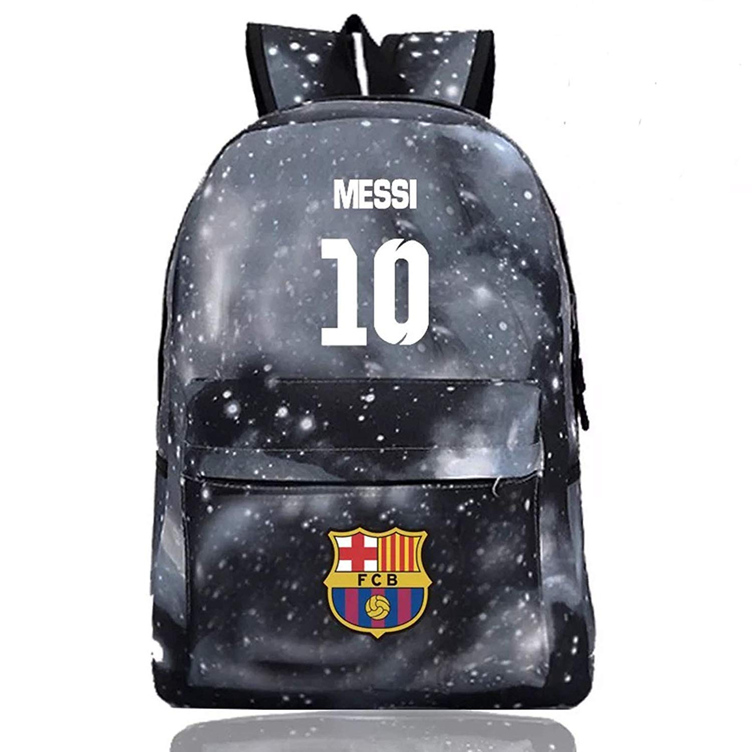 Galaxy Black Messi Fan Unisex Messi Luminous Backpack for School Travel Messi Fan
