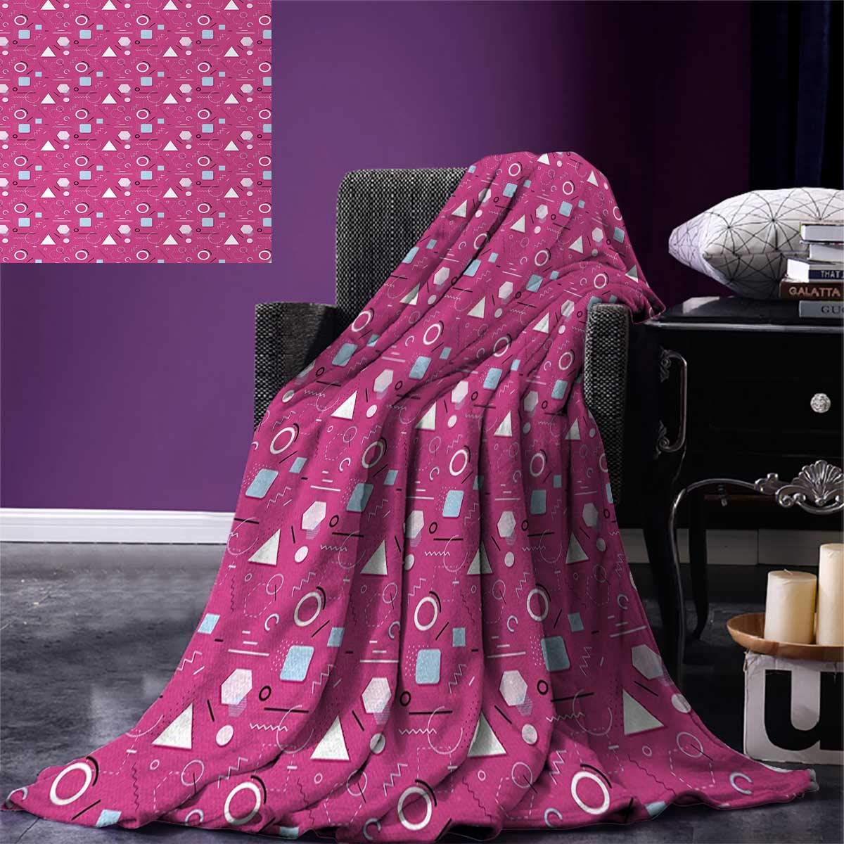 Geometric Digital Printing Blanket Vintage Memphis Style Triangles Hexagons and Squares Eighties Design Summer Quilt Comforter 80''x60'' Pink Pale Blue Black