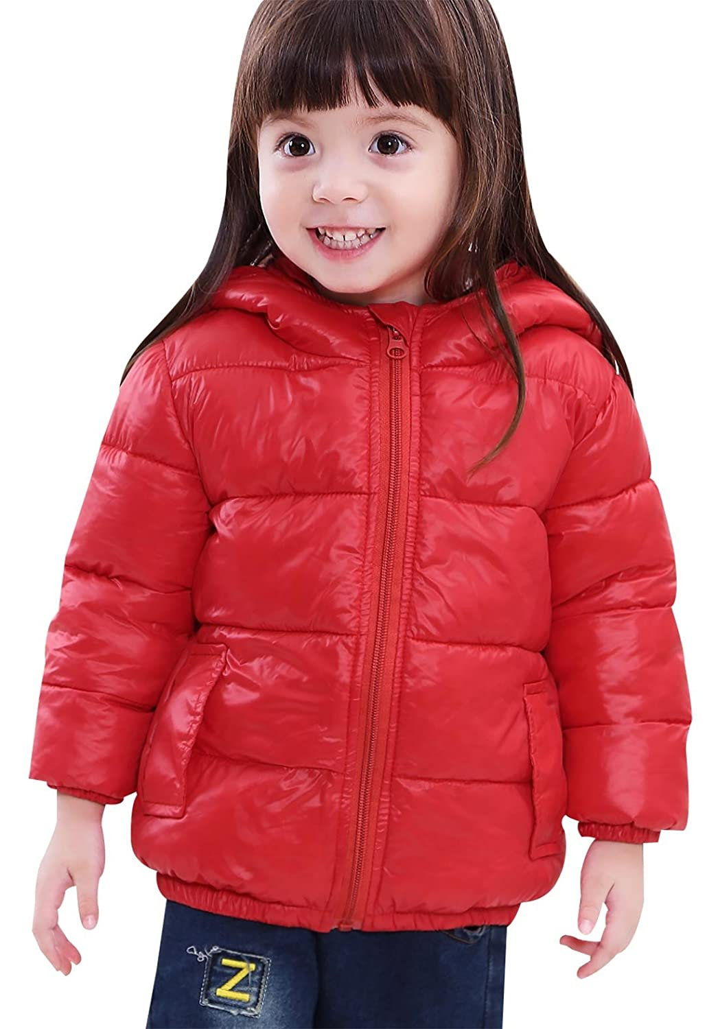SLUBY Little Kids Puffer Jacket Cozy Down Coat With Hood for Girls Boys 2T-6Y