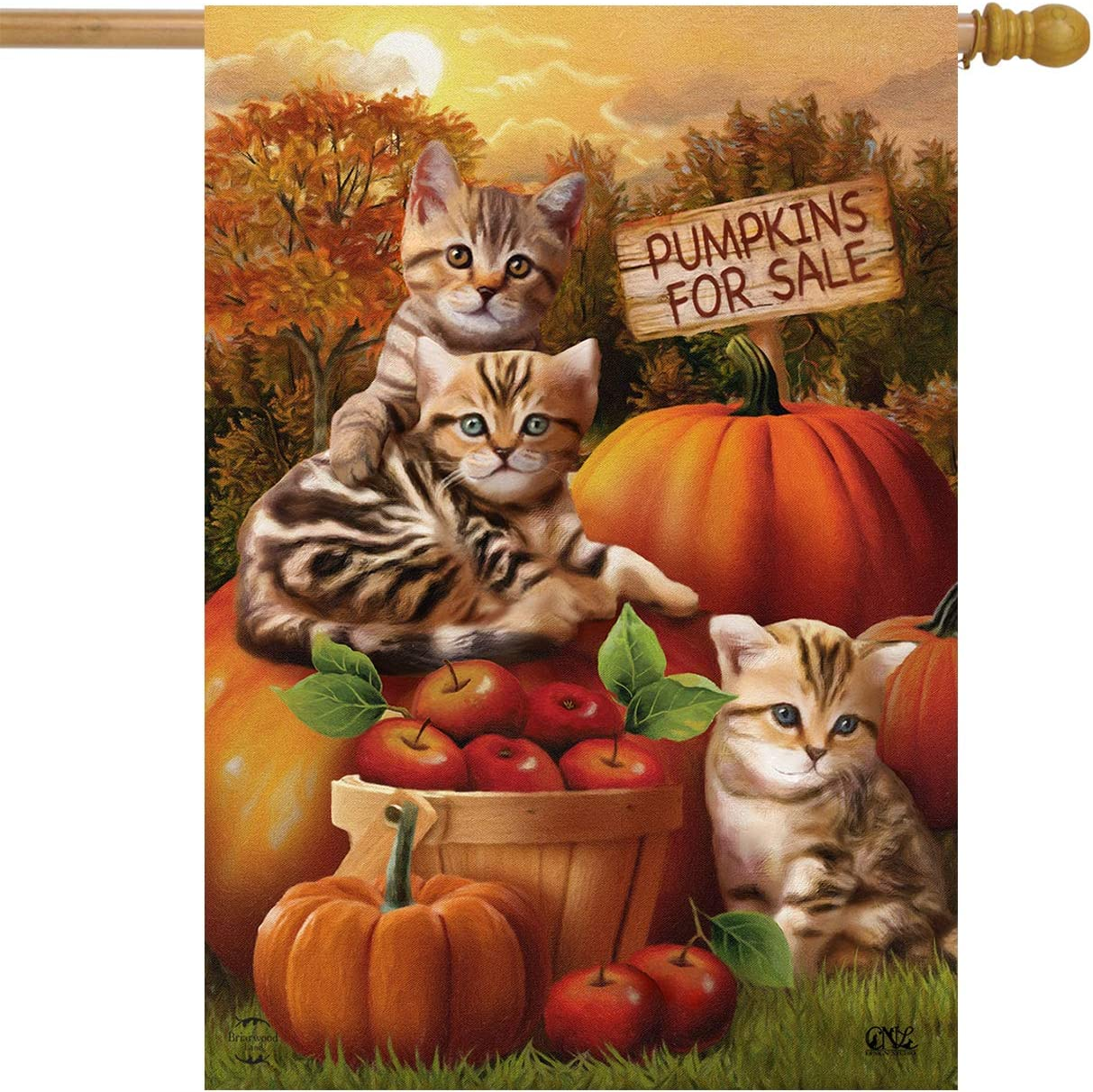 "Briarwood Lane Fall Kittens Pumpkins House Flag Apple Basket Autumn 28"" x 40"
