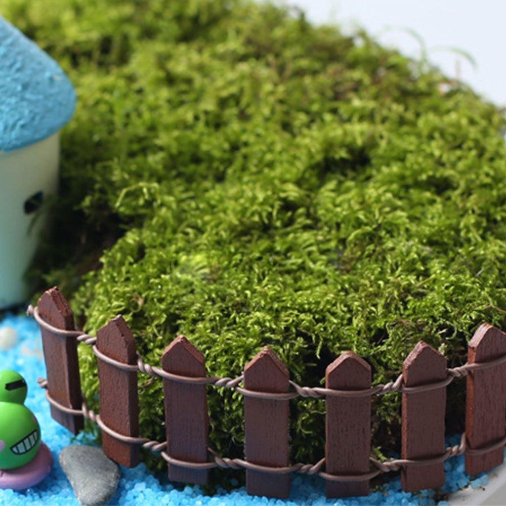 MMRM 5Pcs Ornement de Jardin Miniature Clôture en Bois DIY Décor de Cour Marron