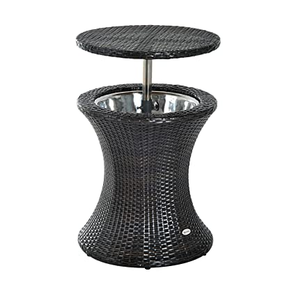 Amazon Com Outsunny 3 In 1 Outdoor Side Table Rattan Patio Ice