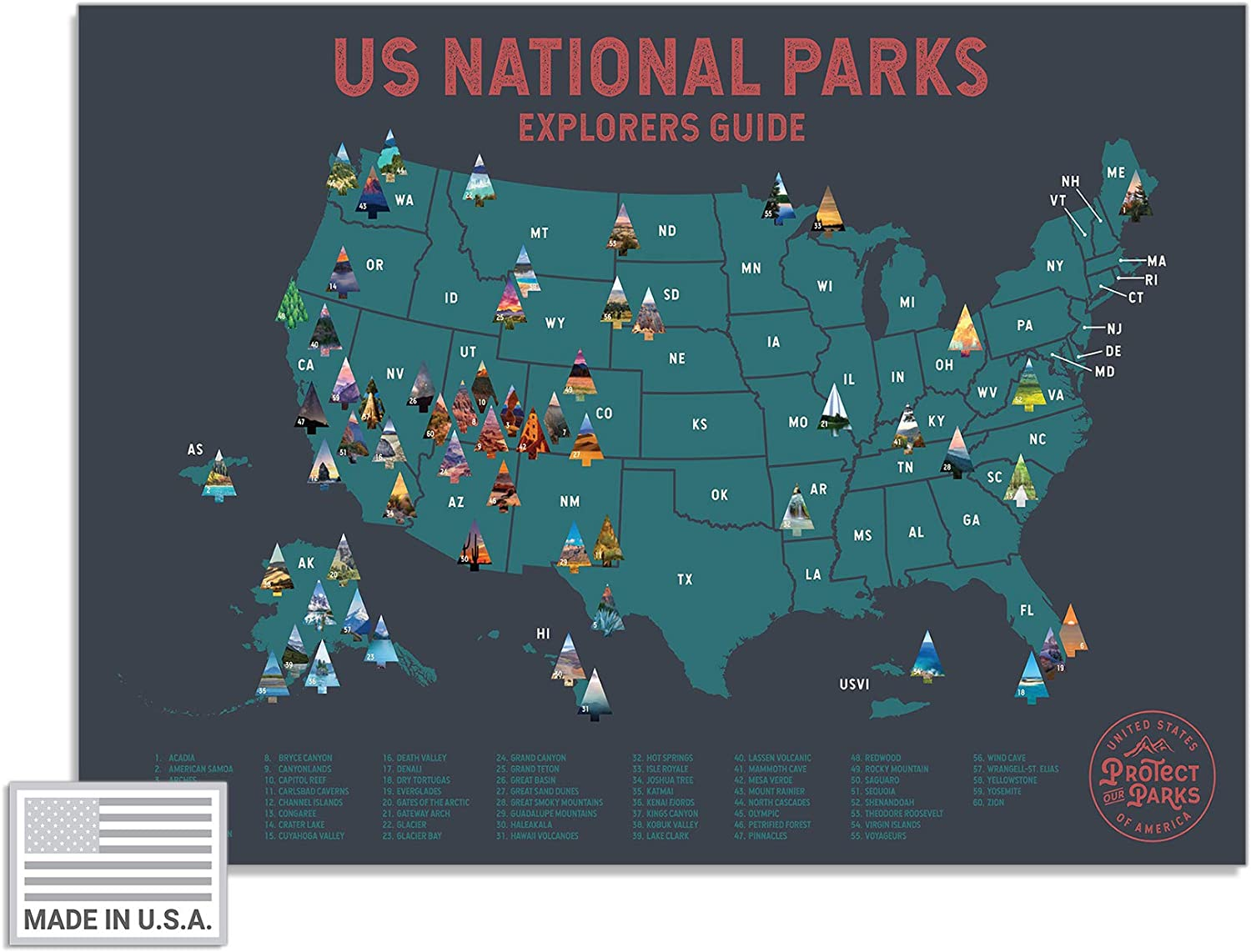 """Epic Adventure Maps USA National Park Scratch Off Map (24"""" x 17"""") - Interactive Travel Scratch-Off Poster Reveals Images of All 61 US National Parks - Great National Park Poster Travelers Gifts"""