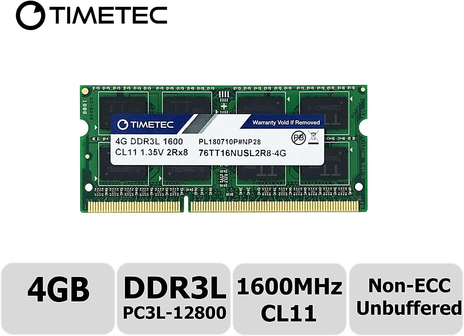 Timetec Hynix IC 4GB DDR3L 1600MHz PC3L-12800 Non ECC Unbuffered 1.35V CL11 2Rx8 Dual Rank 204 Pin SODIMM Laptop Notebook Computer Memory Ram Module Upgrade (Low Density 4GB)