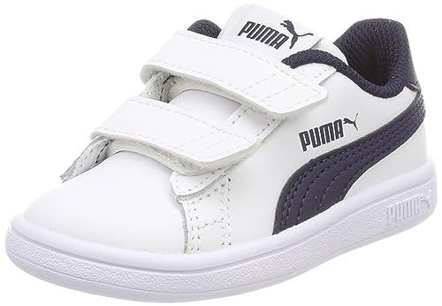 Puma Smash V2 L V Inf, Zapatillas Unisex Bebé, Azul (Puma White-Peacoat), 25 EU