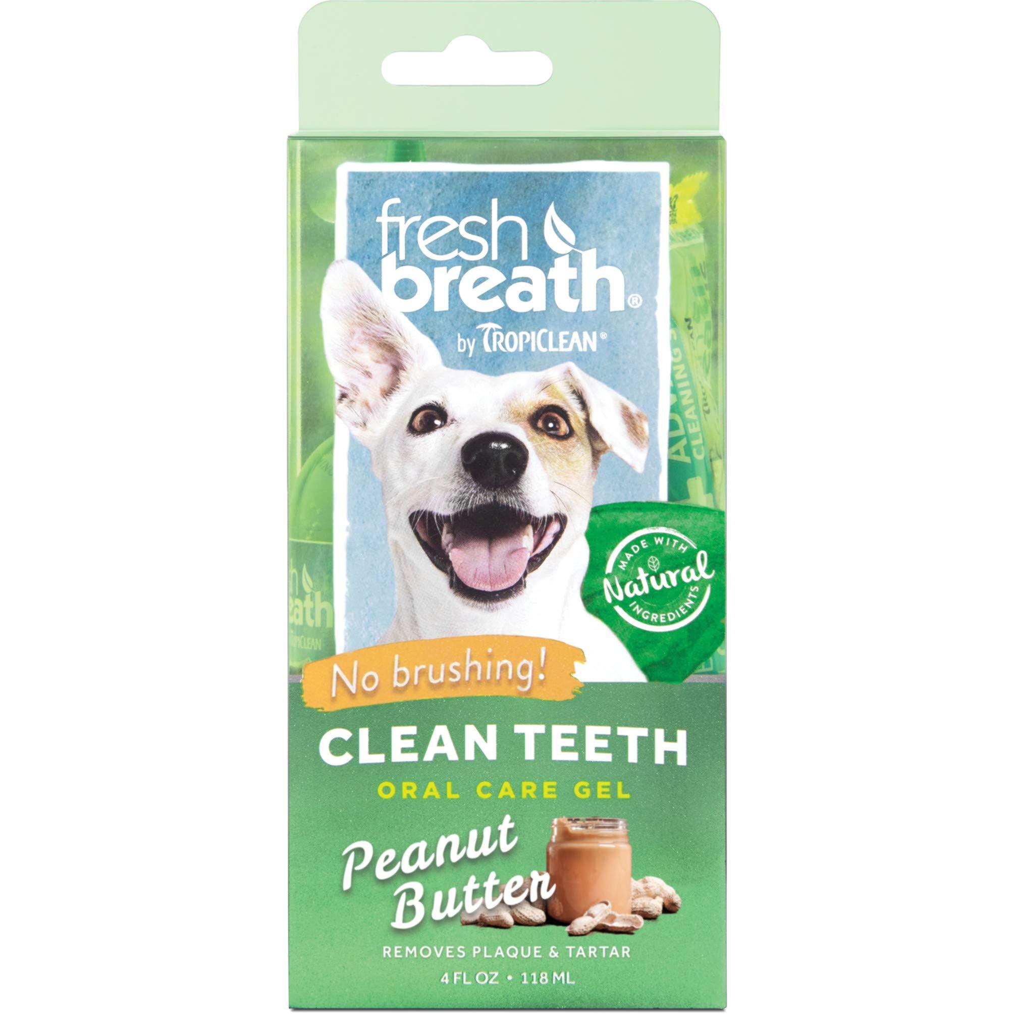 TropiClean Fresh Breath Peanut Butter Flavor Clean Teeth Gel for Dogs, 4oz, Made in USA by TropiClean