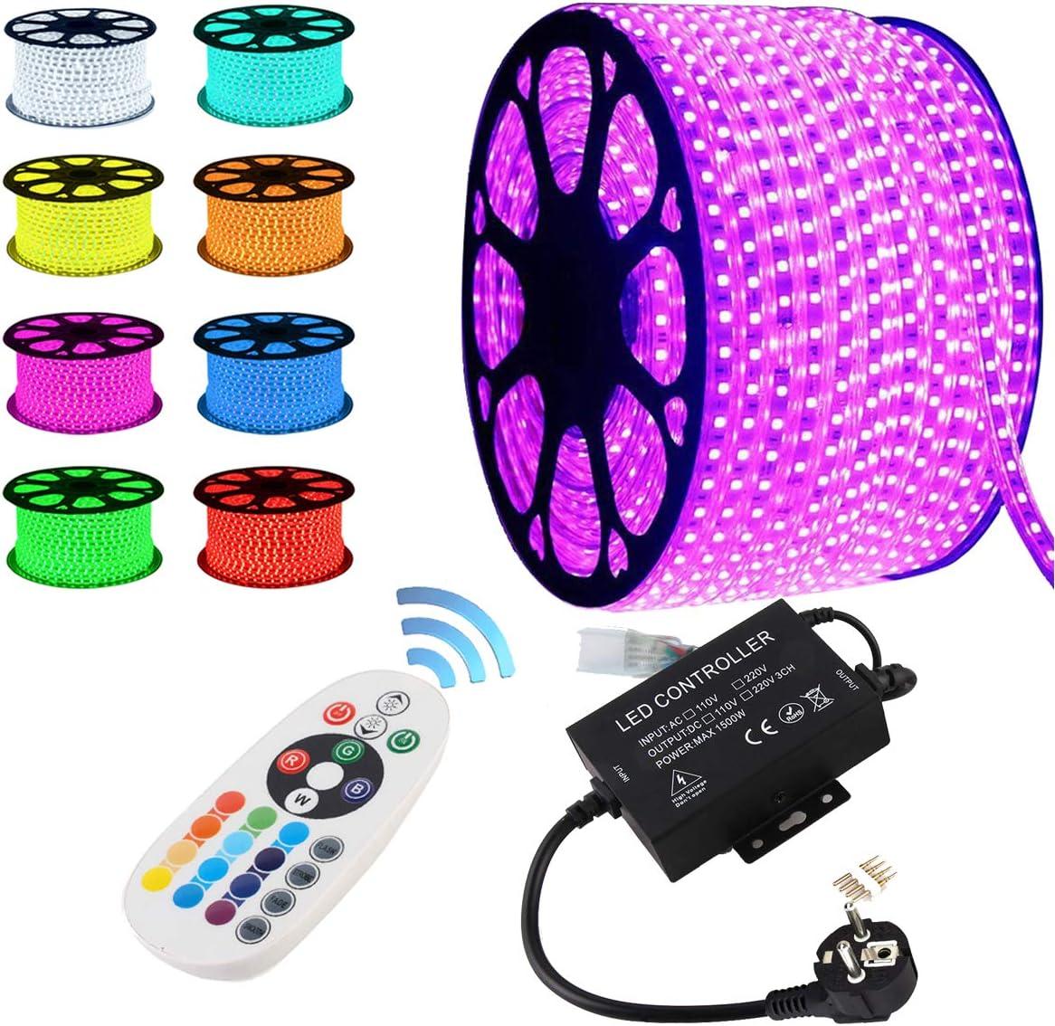 GreenSun LED Lighting 5050 SMD LED tira con 24 teclas Mando a distancia RF controlador Manguera de luz 60 LEDs/M para Hogar Navidad dekoratio, 30 m RGB cinta luminosa luz cadena