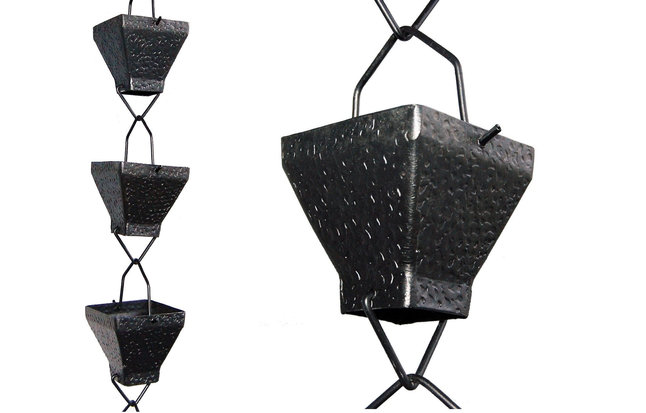 U-nitt 8-1/2 feet Rain Chain: Aluminum Square Cup Black Textured 8.5 ft Length #5517BLK