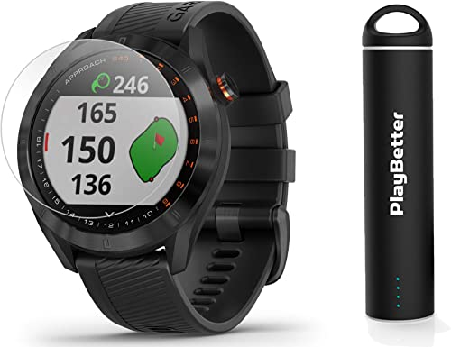 Garmin Approach S40 Black Golf GPS Smartwatch Bundle Includes PlayBetter Portable Charger 2200mAh HD Screen Protectors Stylish, Color Touchscreen, 41,000 Courses 010-02140-01