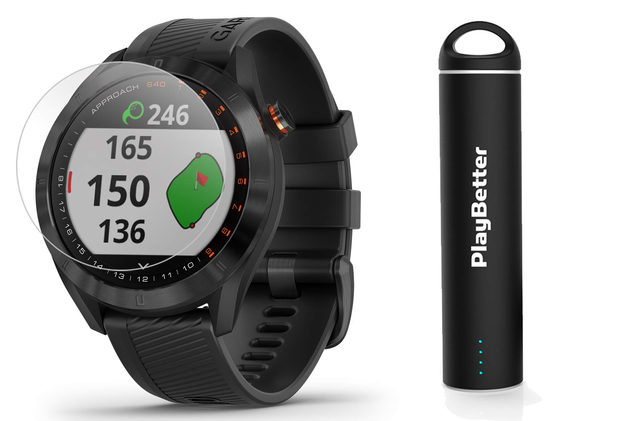 Garmin Approach S40 (Black) Golf GPS Smartwatch Bundle   Includes PlayBetter Portable Charger (2200mAh) & HD Screen Protectors   Stylish, Color Touchscreen, 41,000+ Courses   010-02140-01