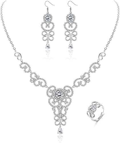 Costume Jewelry Wedding Set Bridal jewelry necklace,setRhinestone Necklace with Earring,wedding jewelry set