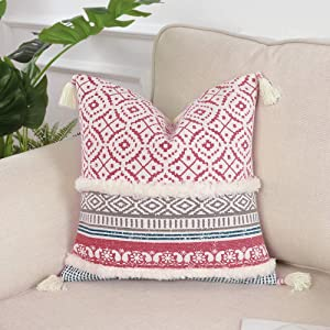 Tiffasea Throw Pillow Cover Boho Decorative Accent Neutral Soft Tufted Cushion Case Farmhouse Decor Woven Tassel Pillow Cover for Home Bedroom Couch Sofa Living Room