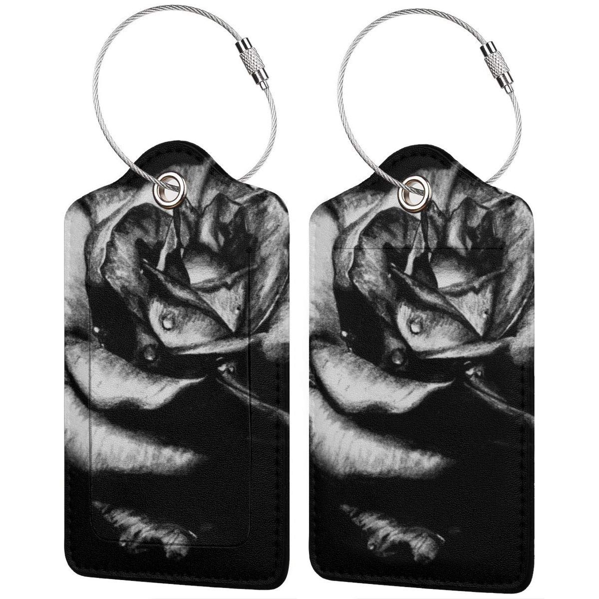 Black Rose Luggage Tag Label Travel Bag Label With Privacy Cover Luggage Tag Leather Personalized Suitcase Tag Travel Accessories